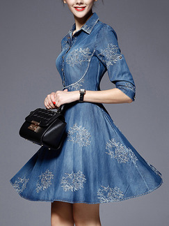 Blue Fit & Flare Above Knee Plus Size Shirt Denim Dress for Casual Evening Party