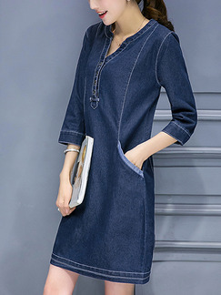 Blue Shift Above Knee Plus Size V Neck Denim Dress for Casual Office Evening