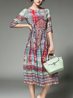 Colorful Midi Plus Size Dress for Casual Beach