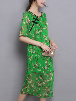 Green Shift Knee Length Plus Size Dress for Casual Party Evening