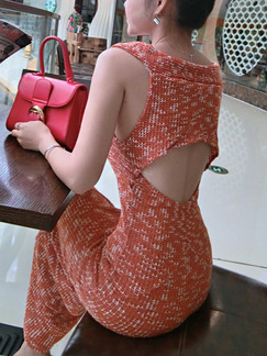Orange Knitted Bodycon Maxi Off Shoulder Dress for Evening Cocktail Semi Formal