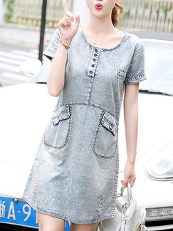 Grey Above Knee Plus Size Shift Denim Dress for Casual Party