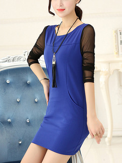 Blue and Black Sheath Plus Size Above Knee Long Sleeve Dress for Casual Office Evening