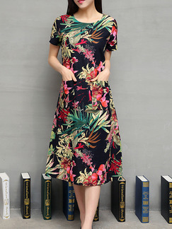 Colorful Shift Midi Plus Size Dress for Casual Party