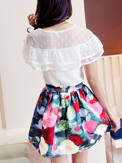 White Colorful Two Piece Above Knee Plus Size Dress for Casual Party