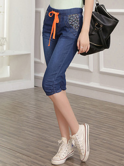 Blue Half Denim Pants for Casual