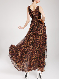 Leopard Maxi Plus Size Fit & Flare V Neck Dress for Evening Party Cocktail Ball
