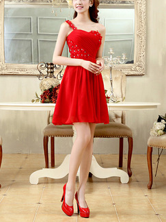 Red Fit & Flare Above Knee One Shoulder Plus Size Dress for Cocktail Prom Ball Bridesmaid