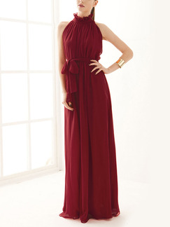 Red Maxi Dress for Bridesmaid Prom Ball Cocktail