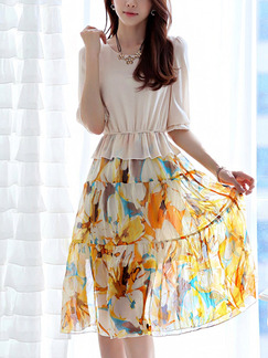Beige and Yellow Colorful Fit & Flare Knee Length Plus Size Floral Dress for Casual Party