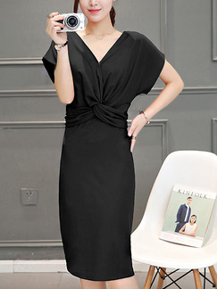 Black Sheath Knee Length Plus Size V Neck Dress for Casual Office Evening