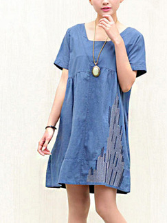 Blue Shift Above Knee Plus Size Denim Dress for Casual Party