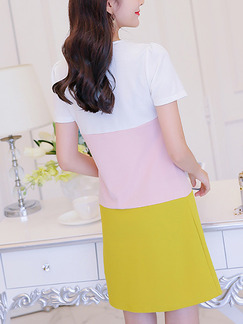 White Pink Yellow Shift Above Knee Plus Size Cute Dress for Casual