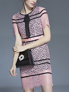 Pink Sheath Knee Length Lace Dress for Casual Office