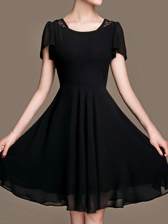 Black Fit & Flare Knee Length Plus Size Dress for Casual Party