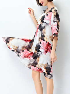 White Pink Colorful Shift Knee Length Floral Dress for Casual Party