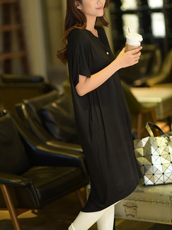 Black Shift Knee Length Dress for Casual Office Evening