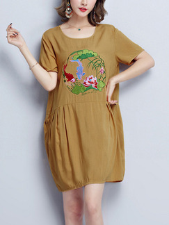 Brown Shift Above Knee Plus Size Dress for Casual Party