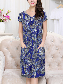 Blue Colorful Shift Knee Length V Neck Dress for Casual Party