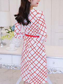 White and Red Shift Knee Length Plus Size Dress for Casual Office Evening