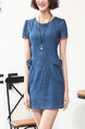 Blue Bodycon Above Knee Denim Dress for Casual Party