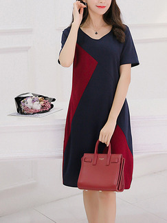 Blue and Red Shift Knee Length Plus Size V Neck Dress for Casual Office Evening Party