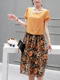 Orange and Brown Shift Knee Length Plus Size Floral Dress for Casual Office Party