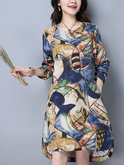Colorful Shift Above Knee Plus Size Long Sleeve Dress for Casual Party