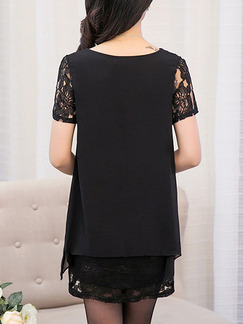 Black Shift Above Knee Plus Size Lace Dress for Casual Party Evening