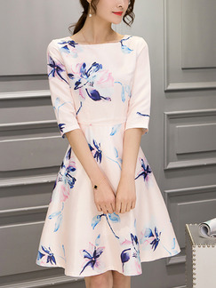 Pink Blue Fit & Flare Above Knee Plus Size Cute Floral Dress for Casual Party Evening