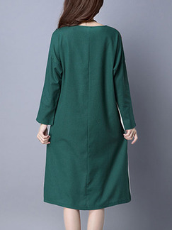 Green and Cream Colorful Shift Knee Length Plus Size Long Sleeve Dress for Casual Party Office
