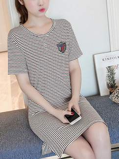 White Stripe Shift Above Knee Plus Size Dress for Casual Party