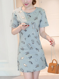Grey Shift Above Knee Plus Size Dress for Casual Party