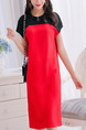 Black and Red Shift Knee Length Plus Size Dress for Casual