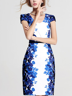 Blue and White Sheath Above Knee Plus Size Floral Dress for Casual Office Evening