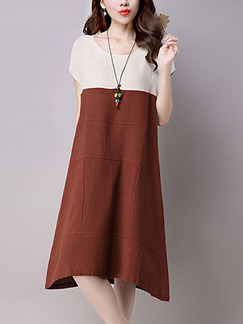 Brown and Beige Shift Knee Length Plus Size Dress for Casual Party