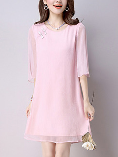 Pink Shift Cute Plus Size Above  Knee Dress for Casual Party