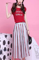 Red and Grey Midi Dress for Casual Party
