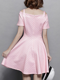 Pink Polka Dot Fit & Flare Above Knee Plus Size Cute Dress for Casual Party