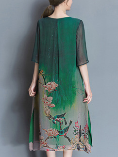 Green Colorful Shift Plus Size Midi Floral Dress for Casual Party