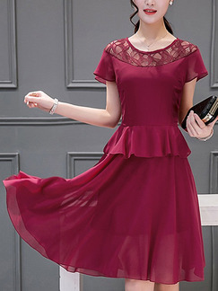 Red Fit & Flare Knee Length Plus Size Dress for Casual Party
