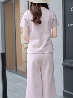Nude Two Piece Shirt Pants Plus Size Jumpsuit for Casual Office Evening