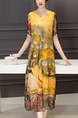 Yellow Colorful Shift Midi Plus Size Dress for Casual Beach Party