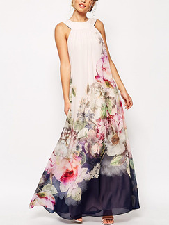 White Colorful Shift Maxi Floral Plus Size Dress for Casual Beach
