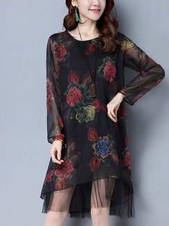 Black Colorful Shift Knee Length Plus Size Floral Long Sleeve Dress for Casual Office Party