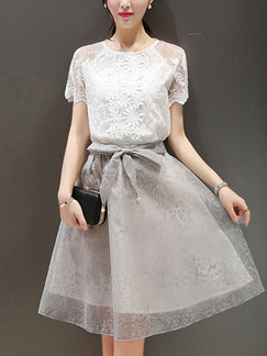 Grey and White Fit & Flare Above Knee Plus Size Lace Dress for Casual Office Party