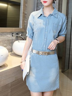 Blue Shift Shirt Denim Above Knee Plus Size  Dress for Casual Office Party