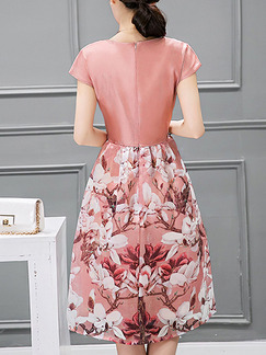 Pink Fit & Flare Above Knee Cute Plus Size Floral Dress for Casual Party