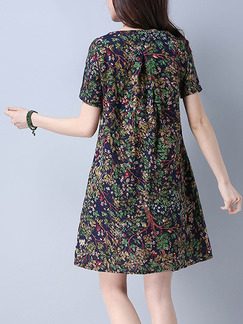 Colorful Shift Above Knee Plus Size Dress for Casual Party