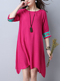 Pink Shift Knee Length Plus Size Cute Dress for Casual Beach